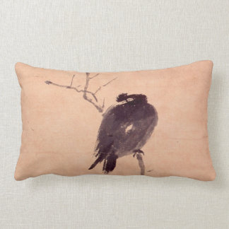 Vintage japanische Malerei eines Vogels Zierkissen