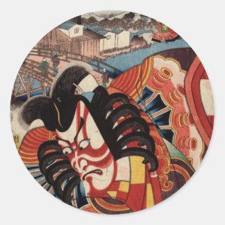 Vintage japanische Malerei - Kabuki Schauspieler Runder Aufkleber
