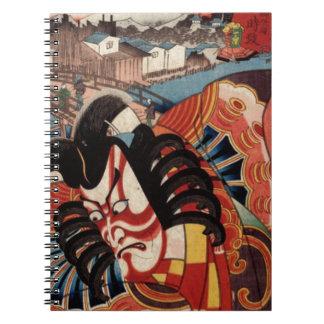 Vintage japanische Malerei - Kabuki Schauspieler Spiral Notizbücher