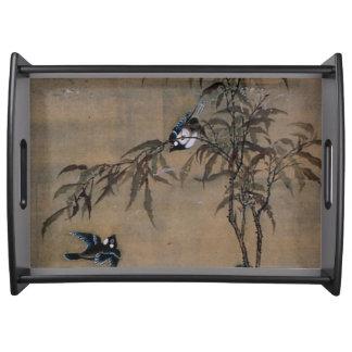 Vintage japanische Malerei von zwei Vögeln auf Serviertabletts