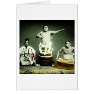 Vintage japanische Sumo-Ringkämpfer altes Japan Karte