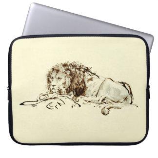 Vintage japanische Tinten-Skizze eines Löwes Laptop Sleeve Schutzhüllen