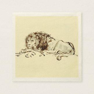 Vintage japanische Tinten-Skizze eines Löwes Papierserviette