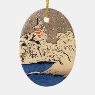 Vintage japanische Weihnachtsverzierung Keramik Ornament