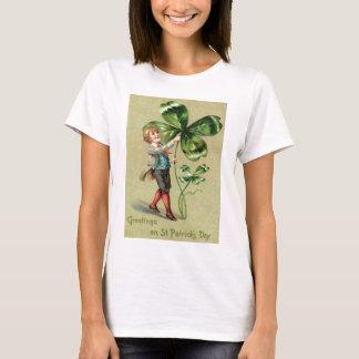Vintage Jungen-vierblättriges Kleeblatt St Patrick T-Shirt