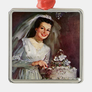 Vintage Jungvermählten-Braut, die ihren Silbernes Ornament