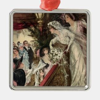 Vintage Jungvermählten, viktorianische Braut, die Silbernes Ornament