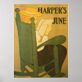 Vintage Juni-Anzeige die Zeitschrift Kunst nouveau Plakatdrucke