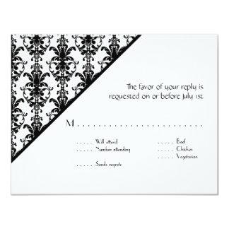 Vintage Juwel-Schnallen-Schwarz-weiße Damast UAWG 10,8 X 14 Cm Einladungskarte