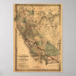 Vintage Kalifornien-Karte 1876 Plakate