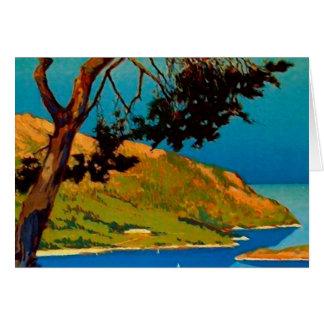 Vintage Kalifornien-Küsten-Reise-Gruß-Karte Karte
