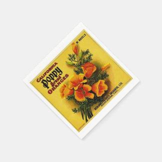 Vintage Kalifornien-Mohnblumen-Orangen Serviette