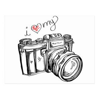 Vintage Kamera, Hand gezeichnete Illustration, Postkarte