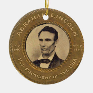 Vintage Kampagne Abraham Lincoln Keramik Ornament