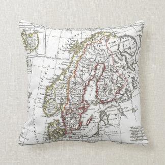 Vintage Karte Atlas-Schwedens Dänemark Kissen