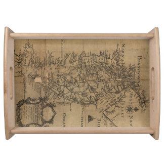 Vintage Karte der Chesapeake-Bucht (1778) Serviertablett