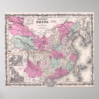 Vintage Karte der China (1862) Poster