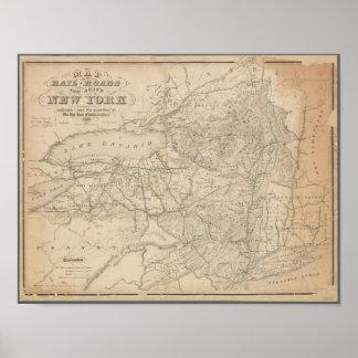 Vintage Karte der Eisenbahnen von New York Poster