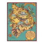 Vintage Karte der Insel von Hawaii Postkarte