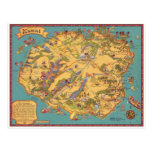 Vintage Karte der Insel von Kauai Postkarte