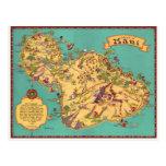 Vintage Karte der Insel von Maui Postkarte