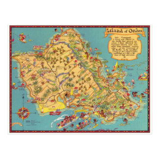Vintage Karte der Insel von Oahu