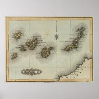 Vintage Karte der Kanarischen Inseln (1823) Poster