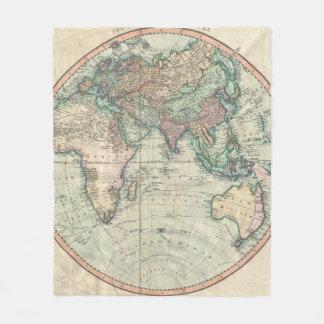 Vintage Karte der Osthemisphäre (1801) Fleecedecke