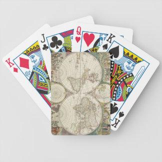 Vintage Karte der Welt (1680) Poker Karten