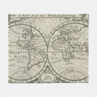 Vintage Karte der Welt (1708) 2 Fleecedecke