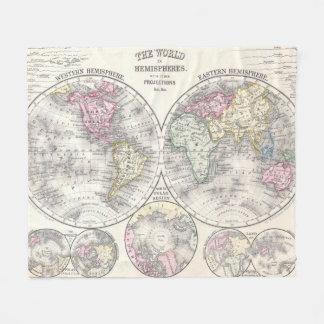 Vintage Karte der Welt (1864) 3 Fleecedecke