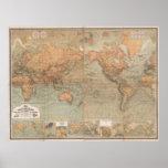 Vintage Karte der Welt (1870) Posterdruck