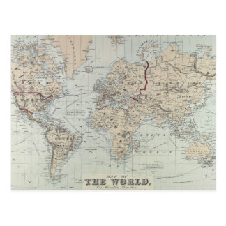 Vintage Karte der Welt (1875) Postkarte