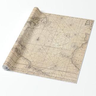 Vintage Karte des Atlantiks (1683) Geschenkpapier
