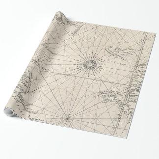 Vintage Karte des Atlantiks (1746) Geschenkpapier