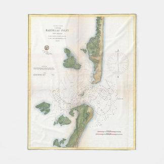 Vintage Karte des Barnegat Einlasses (1865) Fleecedecke