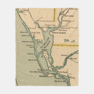 Vintage Karte des Hafens Charlotte Florida (1896) Fleecedecke