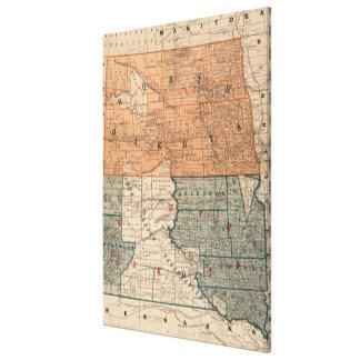 Vintage Karte des Nordens und des South Dakota Galerie Falt Leinwand