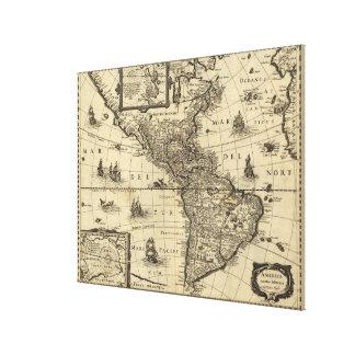 Vintage Karte des Nordens und des Südamerikas Gespannter Galeriedruck