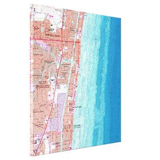 Vintage Karte des Pompano-Strandes Florida (1962) Leinwanddruck