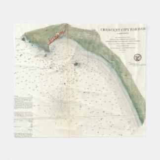 Vintage Karte des sichelförmigen Stadt-Hafens CA Fleecedecke