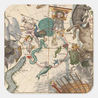 Vintage Karte des Südpols Quadratischer Aufkleber