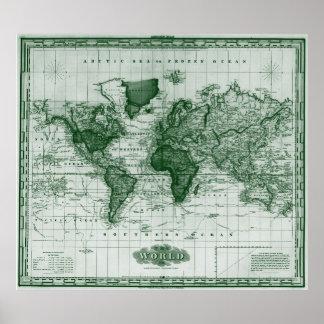 Vintage Karte des Welt(1833) Weiß u. -GRÜNS Poster