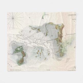 Vintage Karte des Zedern-Schlüssels Florida (1852) Fleecedecke
