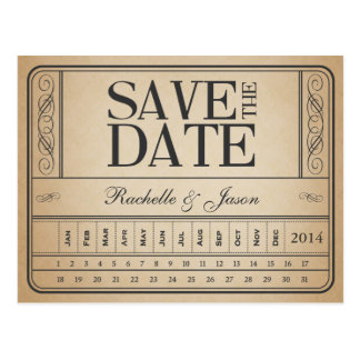 Vintage Karte II -- Lochen Sie Save the Date