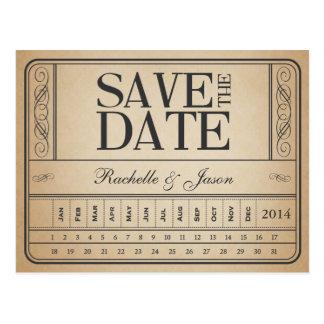 Vintage Karte II -- Lochen Sie Save the Date Postkarte