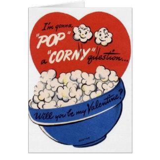 Vintage Karte Popcornvalentines Tages