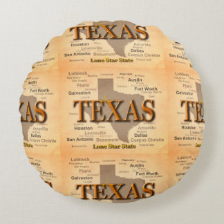 Vintage Karte Texas Rundes Kissen