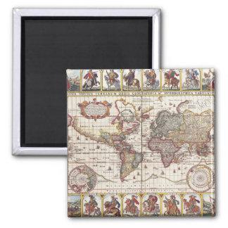 Vintage Karte u. Charaktere Claes Janszoon Quadratischer Magnet