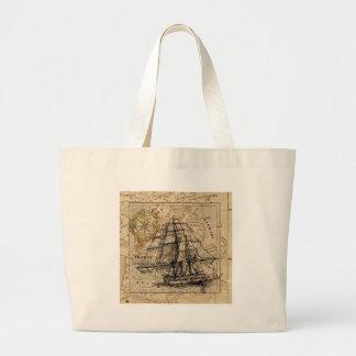 Vintage Karte und Schiff Jumbo Stoffbeutel